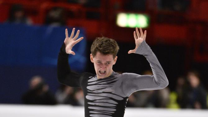 Maxim Kovtun of Russia performs during the men's free program at the European Figure Skating Championships in Stockholm