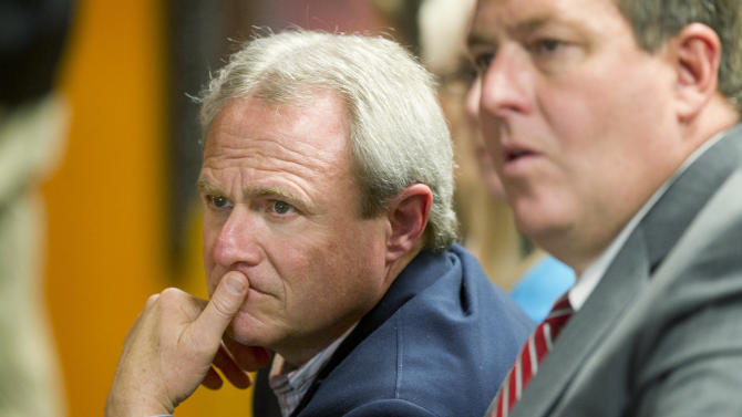 Michael Morton listens during the court of inquiry for Morton's prosecutor, Ken Anderson, at the Williamson County Courthouse in Georgetown, Texas on Thursday Feb. 7, 2013. (AP Photo/Austin American-Statesman, Jay Janner, Pool)