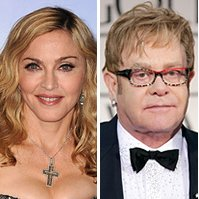 Madonna,  Elton John,  David Furnish | Photo Credits: Steve Granitz/WireImage; Jeff Vespa/WireImage;
