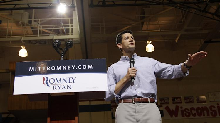 Republican vice presidential candidate, Rep. Paul Ryan, R-Wis. speaks during a campaign event at Joseph A. Craig High School, Monday, Aug. 27, 2012, in Janesville, Wis.  (AP Photo/Mary Altaffer)