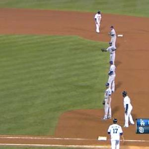 Dodgers use wall of infielders