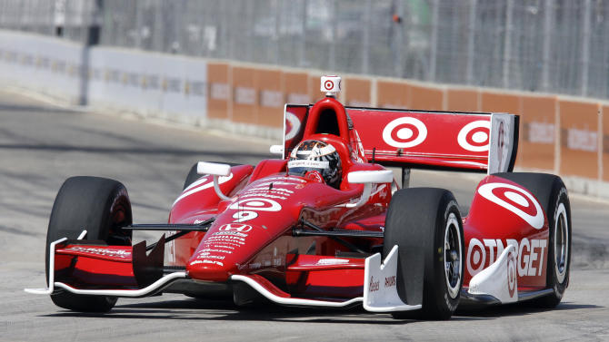 Scott Dixon practices on the track for IndyCar's Detroit Grand Prix auto race on Belle Isle in Detroit, Sunday, June 3, 2012. (AP Photo/Dave Frechette)