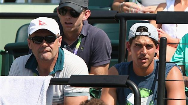 John Tomic father of Bernard Tomic of Australia watches as his son play in Florida (AFP)