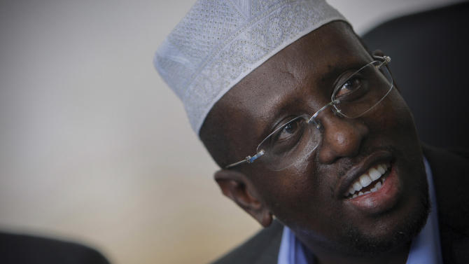 In this photo taken  Wednesday, Aug 1, 2012, Somali president  Sharif Sheik Ahmed,  in Mogadishu, Somalia. Somali leaders are on the verge of naming a new parliament that is supposed to elect a president by Monday, Aug. 20, 2012, but it's hard to find any ordinary Somalis excited by the political changes: They don't have the right to vote. (AP Photo)