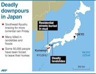Map showing Kyushu in southern Japan where rains have left at least 19 people dead and eight missing as more downpours were expected Friday