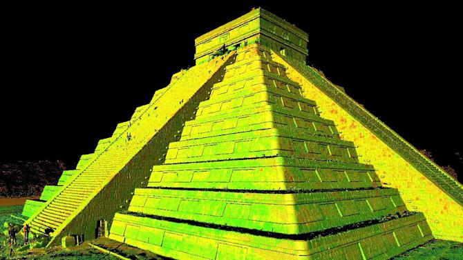 In this photo provided by CyArk, on Monday, Oct. 21, 2013, an image generated by 3D laser scan data, shows a perspective of Chichen Itza, in Mexico. We all know to back up our files and photos, but what about our castles and churches? A nonprofit named CyArk has created digital copies of more than 100 of the world's best-known monuments, mapping Roman ruins, ancient statues, and even an entire island. Now it plans 400 more, with the goal of preserving the world's most important sites against war, wear, and the impact of climate change. (AP Photo/CyArk)