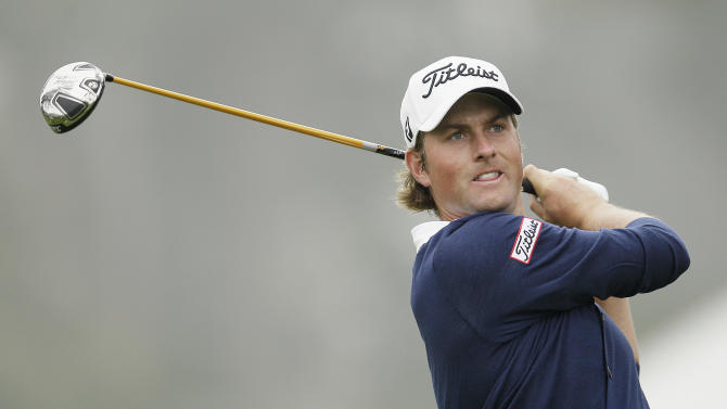 Webb Simpson hits a drive on the 12th hole during the fourth round of the U.S. Open Championship golf tournament Sunday, June 17, 2012, at The Olympic Club in San Francisco. (AP Photo/Eric Risberg)