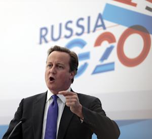 British Prime Minister David Cameron speaks during a media conference after a G-20 summit in St. Petersburg, Russia on Friday, Sept. 6, 2013. World leaders discussed Syria's civil war at the summit but looked no closer to agreeing on international military intervention to stop it. (AP Photo/Ivan Sekretarev)