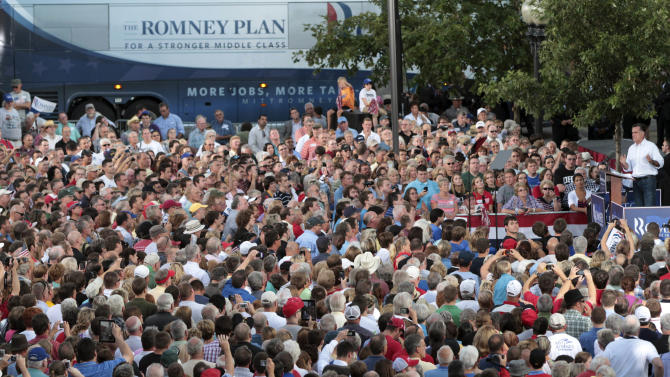 Republican presidential candidate, former Massachusetts Gov. Mitt Romney speaks during a campaign event at the Ross County Court House, Tuesday, Aug. 14, 2012 in Chillicothe, Ohio.  (AP Photo/Mary Altaffer)