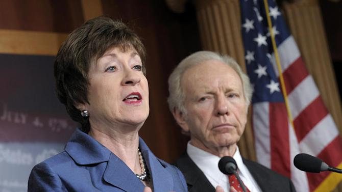 FILE - In this Dec. 31, 2012 file photo, Sen. Susan Collins, R-Maine, speaks during a news conference on Capitol Hill in Washington as Sen. Joseph Lieberman, I-Conn., listens. As the Grand Old Party shifted right in recent years, Collins walked a delicate balance on explosive issues while her colleagues lost, retired or left the party altogether. (AP Photo/Susan Walsh, File)