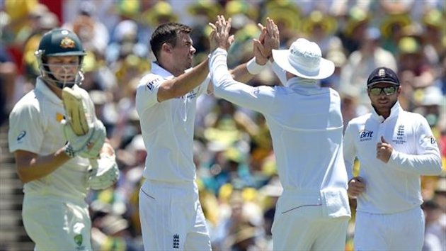 England's James Anderson (centre) celebrates taking the wicket of Australia's Ryan Harris (left) during day two of the Third Test at the WACA ground, Perth