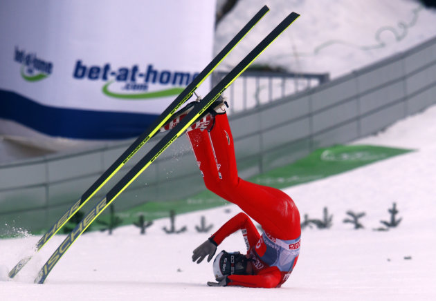 Czech Republic's Hlava crashes during the second jumping of the 61st four-hills ski jumping tournament in Garmisch-Partenkirchen