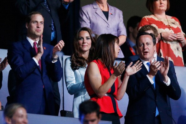 Prince William, Duke of Cambridge, Catherine, Duchess of Cambridge, Samantha Cameron and Prime Minister David Cameron during the Opening Ceremony of the London 2012 Olympic Games at the Olympic Stadiu