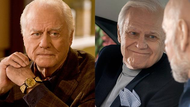 "Larry Hagman as J.R. Ewing and Ken Kercheval as Cliff Barnes on TNT's ""Dallas."""
