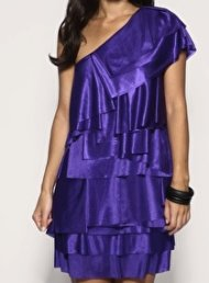 Asos layered purple one shoulder dress, $35.39.