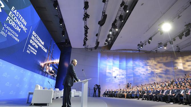 Russian President Putin addresses the audience during the Eastern Economic Forum in the far eastern city of Vladivostok