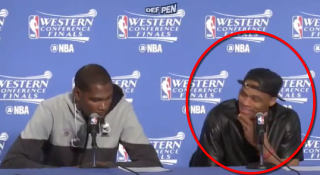 Russell Westbrook Couldn't Stop Laughing After This Question About Steph Curry's Defense
