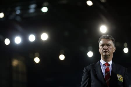 Manchester United's manager Van Gaal looks on before their English Premier League soccer match against West Bromwich Albion in West Bromwich, central England