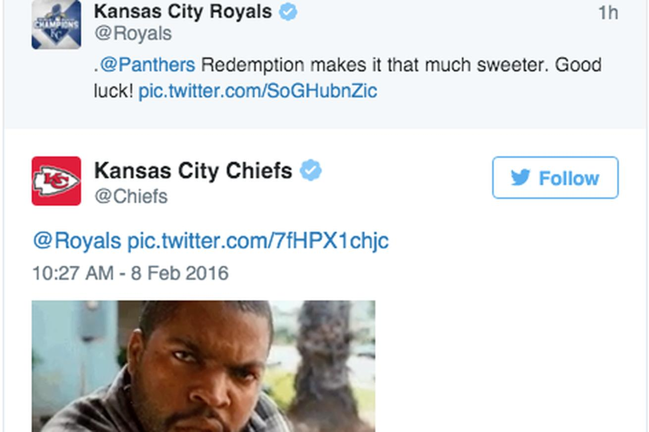 The Chiefs are jealous the Royals and Panthers are being chummy on Twitter