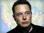 Elon Musk Portrait Over Supercharger Map