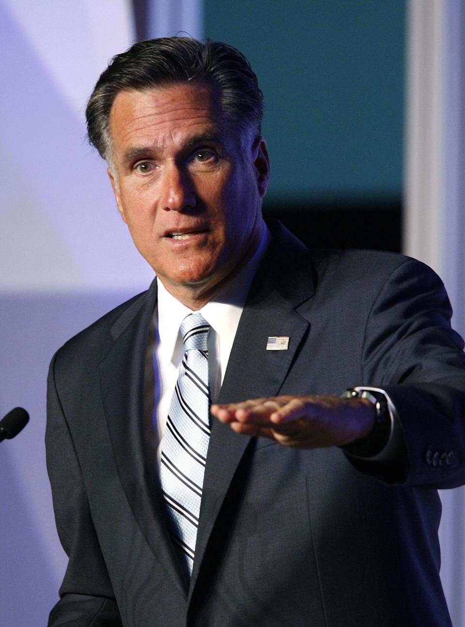 Republican presidential candidate and former Massachusetts Gov. Mitt Romney addresses the U.S. Hispanic Chamber of Commerce in Los Angeles, Monday, Sept. 17, 2012.  (AP Photo/David McNew)