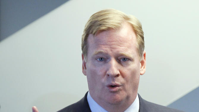 NFL Commissioner Roger Goodell responds to a question during a news conference where he and Chicago Mayor Rahm Emanuel recognized Soldier Field as the only NFL stadium to become a LEED-certified green building, Thursday, May 31 2012, in Chicago. (AP Photo/Charles Rex Arbogast)