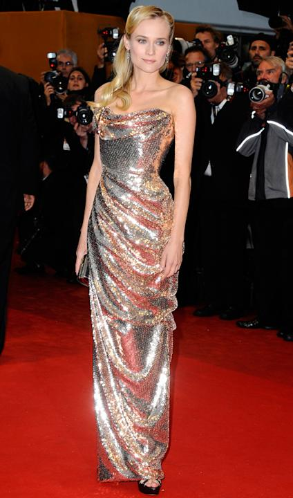 Celebrity fashion gold dresses: Diane Kruger lit up the  Cannes red carpet in an awe-inspiring Vivienne Westwood gown.