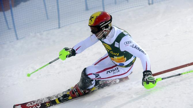 Marcel Hirscher of Austria in action during the first run of the men's World Cup slalom in Levi, Finland Sunday Nov. 11, 2012. Moelgg was the 4th fastest in the first run. (AP Photo/Lehtikuva/Markku Ulander)   FINLAND OUT