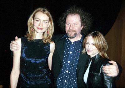 Saffron Burrows , Mike Figgis and Holly Hunter at the First Yahoo! Internet Life Online Film Festival premiere of Screen Gems' Time Code in Hollywood