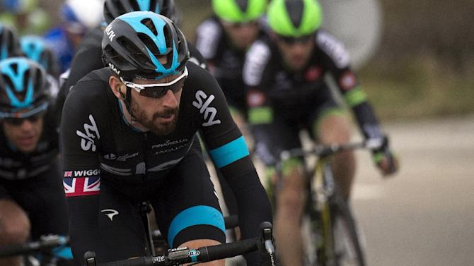 Great Britain's Bradley Wiggins rides in the pack during the fifth stage of the Paris-Nice cycling race, between Saint-Etienne and Rasteau, on March 13, 2015