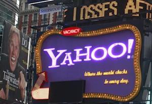 A Yahoo billboard is seen in New York's Times Square