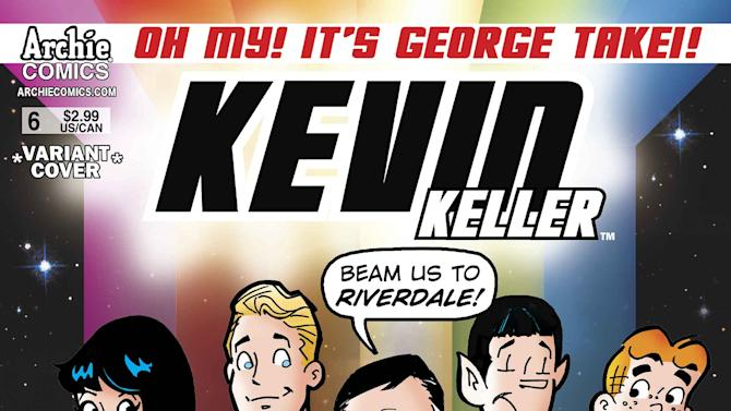 "This comic book cover released by Archie Comics shows an animated depiction of George Takei as Mr. Sulu from ""Star Trek,"" center, with Archie characters for issue No. 6 of Archie Comics' ""Kevin Keller,"" series about Riverdale's only gay teenager. Takei says his appearance dovetails nicely with his real-life advocacy for equal rights and shows that anyone can aspire to be what they want to be no matter who they are. (AP Photo/Archie Comics)"