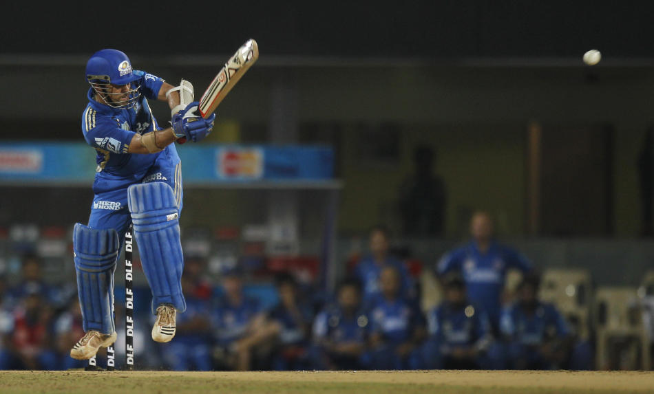 Sachin Tendulkar of Mumbai Indians plays a shot during the 2nd Qualifier between Royal Challengers Bangalore and Mumbai Indians in Chennai, India, Friday, May 27, 2011. The winner of this match will p