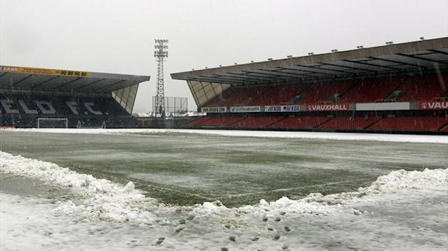 The snow-covered pitch at Windsor Park (Reuters)