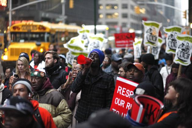 Fast food workers attend a protest against McDonald's outside of one of its restaurants in New York