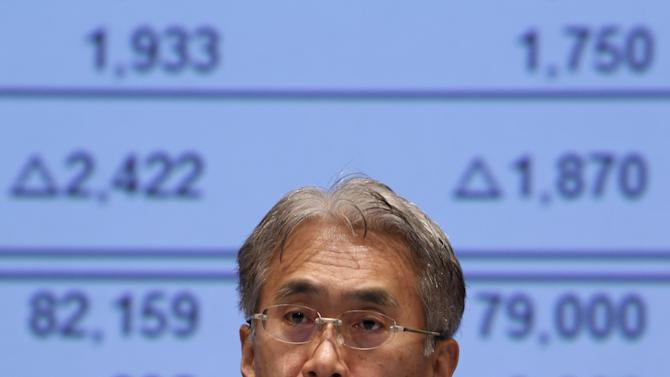 Sony Corp's Chief Financial Officer Yoshida speaks during a news conference at the company's headquarters in Tokyo