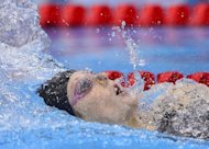 US swimmer Missy Franklin competes in the women's 200m backstroke final during the swimming event at the London 2012 Olympic Games on August 3, 2012 in London
