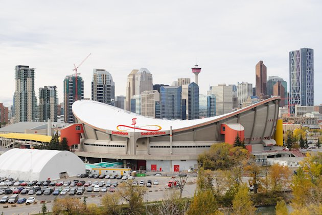 CALGARY, AB - OCTOBER 6: A general view of the exterior of the Scotiabank Saddledome with the Calgary skyline behind. (Photo by Derek Leung/Getty Images)