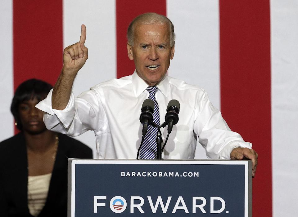 Vice President Joe Biden speaks during a campaign stop at Renaissance High School, Wednesday, Aug. 22, 2012, in Detroit. (AP Photo/Paul Sancya)