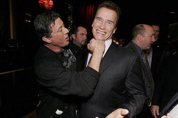 Sylvester Stallone and Governor Arnold Schwarzenegger at the Las Vegas premiere of Lionsgate Films' Rambo
