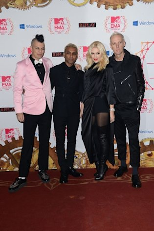 Adrian Young, Tony Kanal, Gwen Stefani and Tom Dumont of No Doubt arrive at the MTV EMA&#39;s 2012 at Festhalle Frankfurt on November 11, 2012 in Frankfurt am Main, Germany -- Getty Images