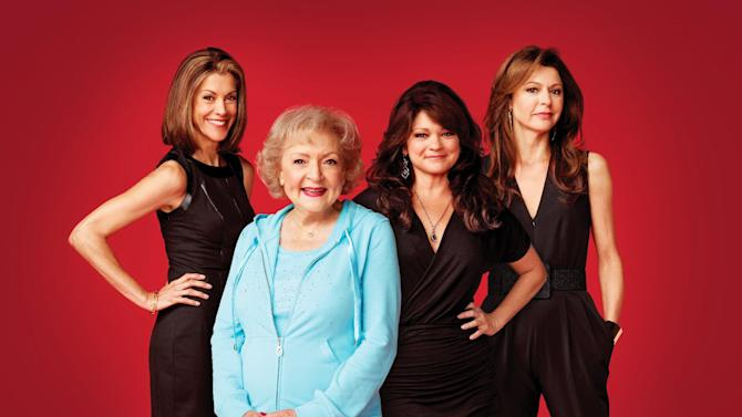 "This undated publicity photo released by courtesy of TV Land shows, from left, Wendie Malick, Betty White, Valerie Bertinelli and Jane Leeves from TV Land's ""Hot in Cleveland.""  White reunites with her former co-stars, Mary Tyler Moore, Cloris Leachman, Georgia Engel and Valerie Harper for an upcoming ""Cleveland"" episode. (AP Photo/TV Land)"
