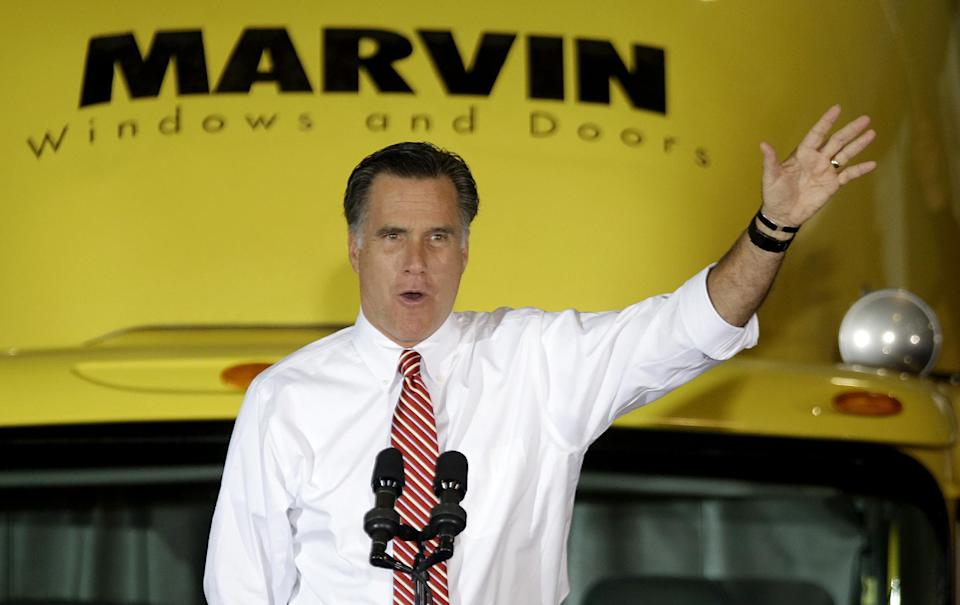Republican presidential candidate, former Massachusetts Gov. Mitt Romney gestures as he speaks at a campaign event at Integrity Windows in Roanoke, Va., Thursday, Nov. 1, 2012. (AP Photo/David Goldman)
