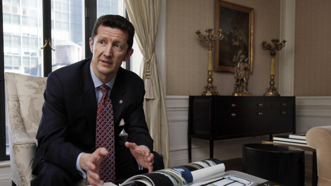 Paul Nash, general manager of the St. Regis Hotel, is interviewed in the Presidential Suite, Wednesday, March 14, 2012. A century after the Titanic sank, the legacy of the ship's wealthiest and most famous passenger, John Jacob Astor, quietly lives on at the luxury hotel he built in New York City. (AP Photo/Richard Drew)