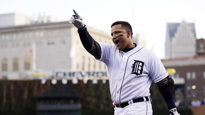 """FILE - In this Oct. 18, 2012, file photo, Detroit Tigers' Miguel Cabrera celebrates after hitting a two-run home run during the fourth inning of Game 4 of baseball's American League championship series against the New York Yankees in Detroit. Cabrera beat out Pittsburgh Pirates center fielder Andrew McCutchen and Los Angeles Angels rookie Mike Trout for the Players Choice Award as voted on by his fellow major leaguers. """"It makes you feel proud and makes you feel like you've got to work harder, you've got to work to get better,"""" the 29-year-old third baseman said Monday, Nov. 5. (AP Photo/Matt Slocum, File)"""