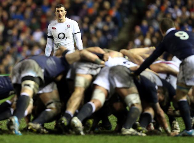 England's Jonny May awaits the ball being passed from a scrum during their Six Nations rugby union international match against Scotland'at Murrayfield, Edinburgh, Scotland, Saturday Feb. 8, 20