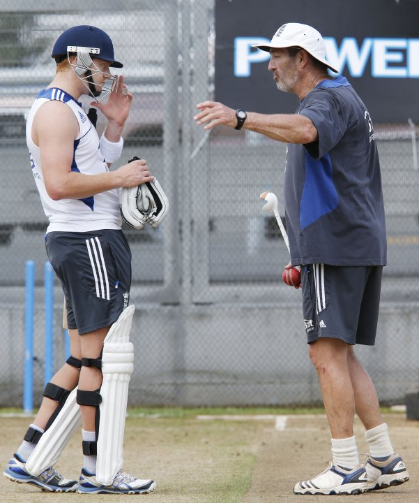England's Jonny Bairstow listens to batting coach Graeme Gooch while practising in the batting nets ahead of the final cricket test against New Zealand