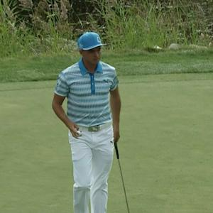 Rickie Fowler's putt finds the cup for birdie at Deutsche Bank