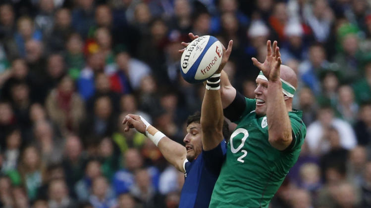 Ireland's O'Connell challenges France's Tales during their Six Nations rugby union match at the Stade de France in Saint-Denis, near Paris