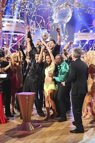 Tony and Melissa celebrate victory on &#39;Dancing with the Stars: All-Stars,&#39; Nov. 27, 2012 -- ABC